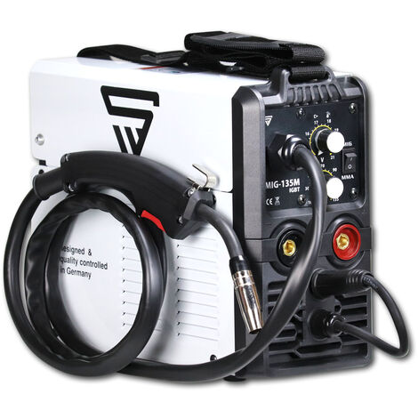 STAHLWERK MIG 135 M - 3 en 1 MIG MAG MMA máquina de soldadura con gas de protección con 135 Amperio, adecuada para FLUX, con MMA soldadura de electrodos, blanca, 7 años de garantía