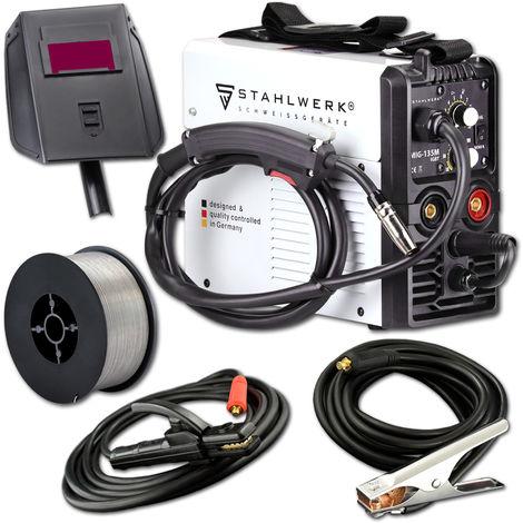 STAHLWERK MIG 135 M IGBT - MIG MAG Machine à souder au gaz inerte avec 135 A, fil fourré FLUX, avec soudage manuel MMA, garantie* du fabricant de 5 ans