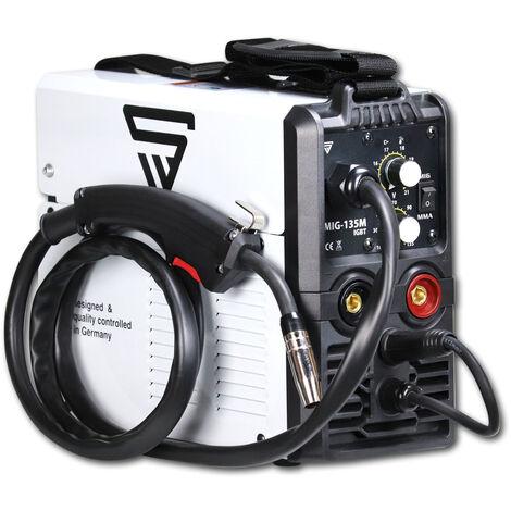 STAHLWERK MIG 135 M - Machine à souder 3 en 1 MIG MAG MMA à gaz de protection avec 135 Ampères, fil fourré FLUX adapté, avec MMA E-hand, blanc, 7 ans de garantie constructeur