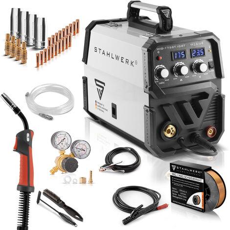 STAHLWERK MIG 175 ST IGBT- équipement complet - Machine à souder MIG MAG sous gaz protecteur avec 175 A, fil fourré FLUX adapté, avec MMA E-hand, blanc, 7 ans de garantie
