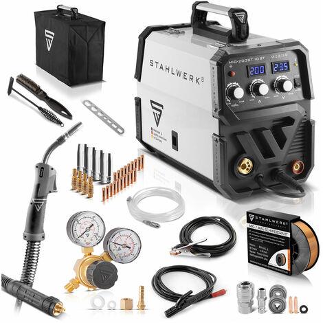 STAHLWERK MIG 200 ST IGBT- equipo completo - MIG MAG máquina de soldar con gas protector con 200 A, adecuada para FLUX, con MMA soldadura de electrodos, blanca, 7 años de garantía