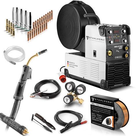 STAHLWERK MIG 270 ST IGBT- equipo completo - MIG MAG máquina de soldar con gas protector con 270 A, adecuada para FLUX, con MMA soldadura de electrodos, blanca, 7 años de garantía