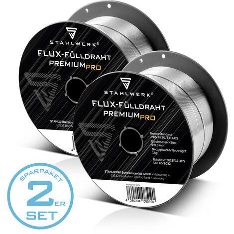 STAHLWERK MIG MAG fil fourré Premium Ø 0,8 mm, fil FLUX fil de soudage E71T-GS, bobine D100 1 kg à mandrin de 16 mm, fil universel jeu de 2