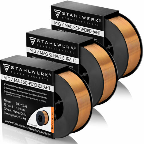 STAHLWERK MIG/MAG welding wire Ø 1,0 mm, steel SG3 ER70S-6, on 1kg D100 spool with 16mm spindle, universally usable set of 3