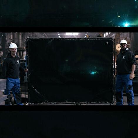 STAHLWERK pantalla de soldadura pantalla de protección 2,4 x 1,8 m móvil con ruedas