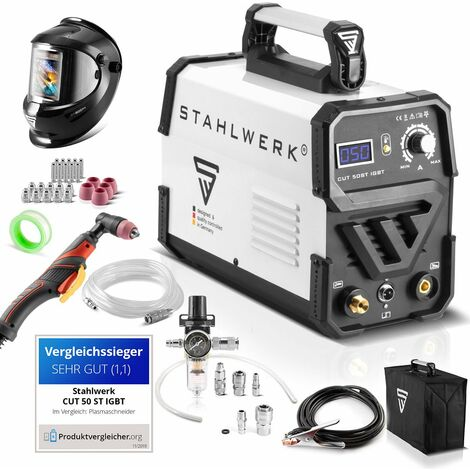 STAHLWERK Plasma Cutter CUT 50 ST IGBT - équipement complet Technologie IGBT Allumage HF, performance de coupe moderne Garantie 7 ans*.