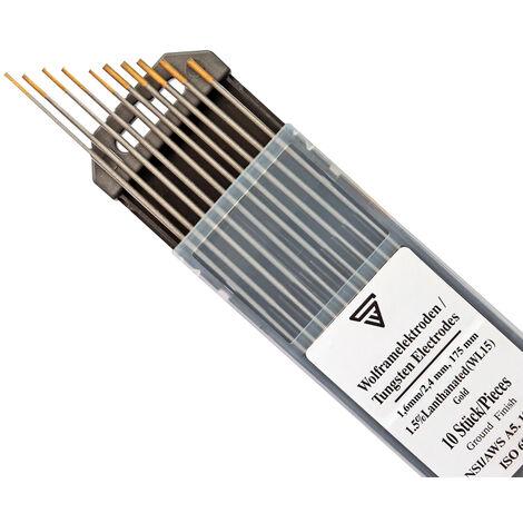STAHLWERK TIG Electrodos de soldadura de tungsteno 1.6 y 2.4 x 175 mm WL15 dorado libre de torio - agujas universales TIG para acero, acero inoxidable, aluminio, cobre cada 5 piezas.