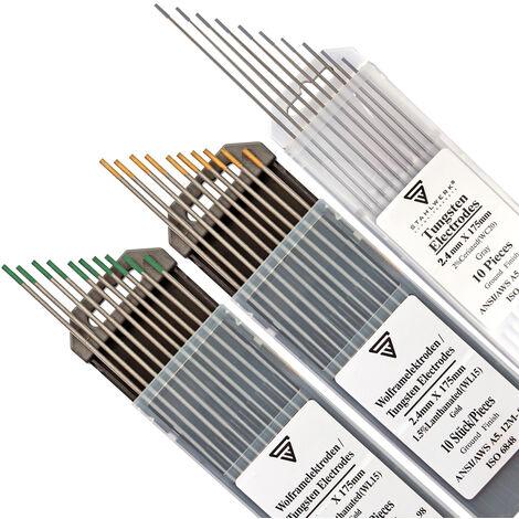 STAHLWERK TIG electrodos de tungsteno soldar conjunto gris, verde, dorado 2,4 mm 10 piezas de cada tamaño - sin torio, agujas TIG universales para acero, acero inoxidable, aluminio
