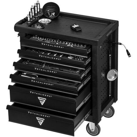 STAHLWERK Werkstattwagen Chrom Vanadium W-64 ST Werkzeugwagen Werkzeugkoffer Montagewagen mit 6 Schubladen bestückt mit Profi Werkzeug Sortiment Premium A+ Chrom Vanadium inklusive 7 Jahre Garantie