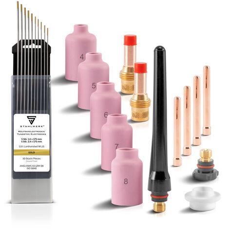 STAHLWERK WIG Gaslinsen Schweißzubehör mit Spannhülsen + Keramikdüsen + Wolframelektroden, Verschleißteile für WP-26 WIG-Schweißbrenner, Set 24-teilig