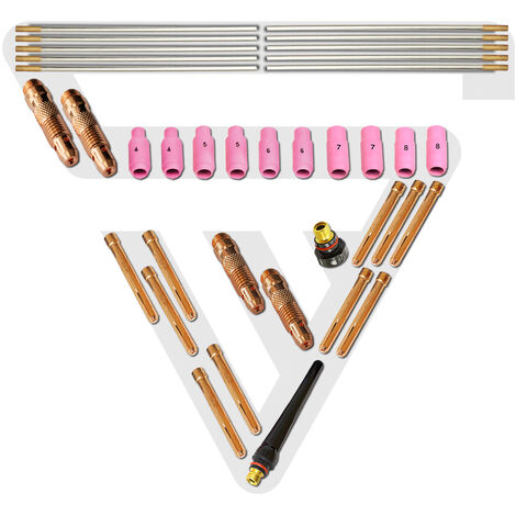 STAHLWERK WIG Schweißzubehör Verschleißteile: Spannhülsen + Gehäuse + Keramikdüsen + Wolframelektroden für WP-26 WIG-Schweißbrenner, Set 36-tlg.