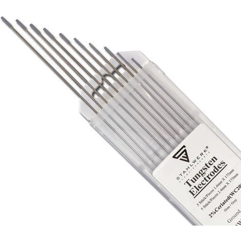 STAHLWERK WIG Wolfram Schweißelektroden 1,6 & 2,4 x 175 mm WC20 Thoriumfrei - universelle WIG Nadeln für Stahl, Edelstahl, Alu, Kupfer, grau, je 5 Stk.