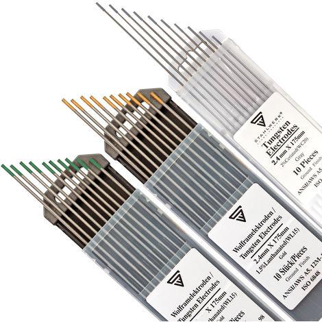STAHLWERK WIG Wolfram Schweißelektroden Set Grau WC20, Grün WP, Gold WL15 2,4 mm je 10 Stk. Thoriumfrei - universelle WIG Nadeln für Stahl, Edelstahl, Aluminium