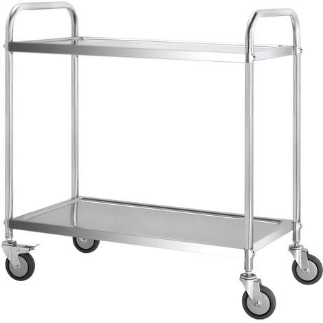 Stainless Steel 2 Tier Rolling Kitchen Service Cart Catering Trolley 85L x 45D x 90H (cm)