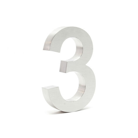 """Stainless Steel 3-D House Number """"3"""" Arial 20cm Rustproof and Weather-resistant with Satin Finish"""