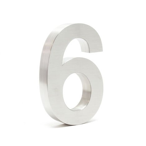 Stainless Steel 3-D House Number 6 Arial 20cm Rustproof and Weather-resistant with Satin Finish