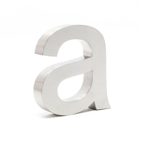 """Stainless Steel 3-D House Number """"a"""" Arial 15cm Rustproof and Weather-resistant with Satin Finish"""