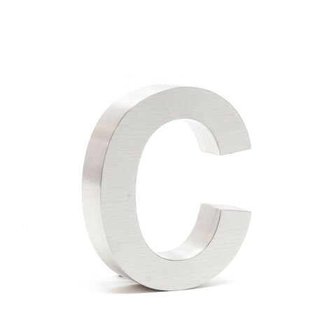 """Stainless Steel 3-D House Number """"c"""" Arial 15cm Rustproof and Weather-resistant with Satin Finish"""