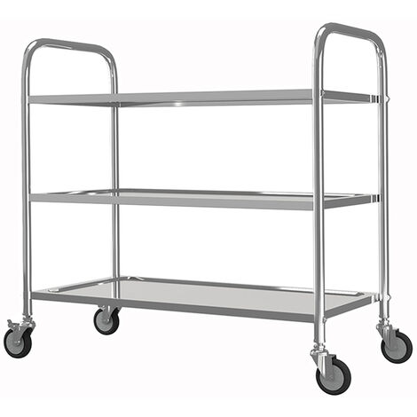 Stainless Steel 3 Tier Rolling Kitchen Service Cart Catering Trolley 85L x 45D x 90H (cm)
