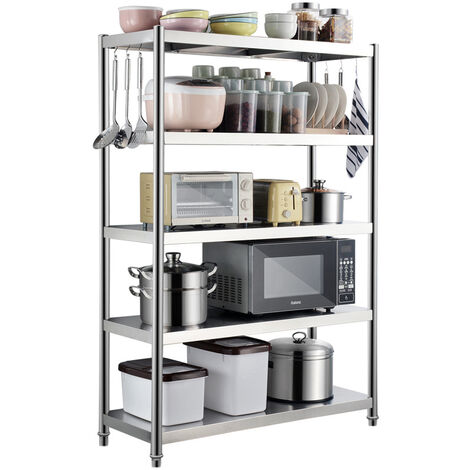 Stainless Steel 5 Tier Catering Table Food Prep Work Bench Kitchen Shelf