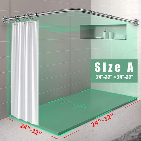"""main image of """"Stainless Steel Adjustable Curved Shower Curtain Rails Rod Bathroom Bars Rail Rod(Size A)"""""""