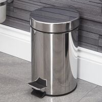 Stainless Steel Bathroom Toilet Rubbish Waste Disposal Bin Pedal Silver 3 Litre