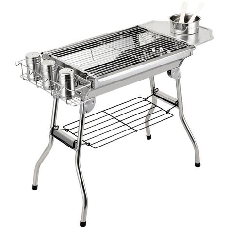 Stainless Steel BBQ Charcoal Barbecue Grill 63.5x57x33.5cm Outdoor Garden Picnic Camping Cook