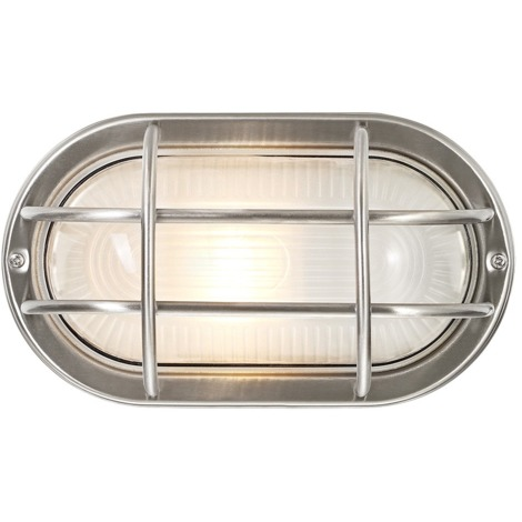 Stainless Steel Cast Aluminium Outdoor Oval Bulkhead Wall Light by Happy Homewares