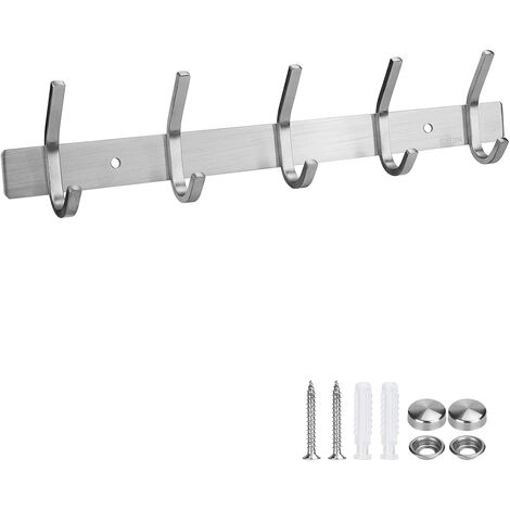 Stainless Steel Coat Hook Wall Hanger with 5 Hooks for Bedrooms, Bathrooms, Kitchens