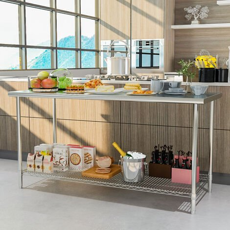 Stainless Steel Commercial Catering Kitchen Table Heavy Duty Wire Shelf Workbench Without Backsplash, L180xW60xH80cm