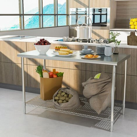 Stainless Steel Commercial Catering Kitchen Table HeavyDuty Wire Shelf Workbench