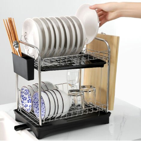 """main image of """"Stainless Steel Dish Drainer Drying Rack 2 Tier Self-Draining Shelves with Trays"""""""