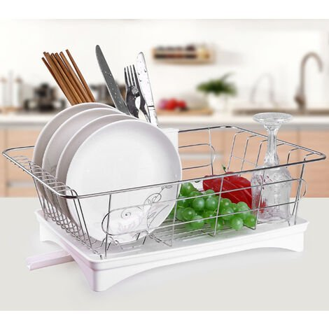 Stainless Steel Dishes Drainer Drying Basket Kitchen Storage Rack Utensil Holder