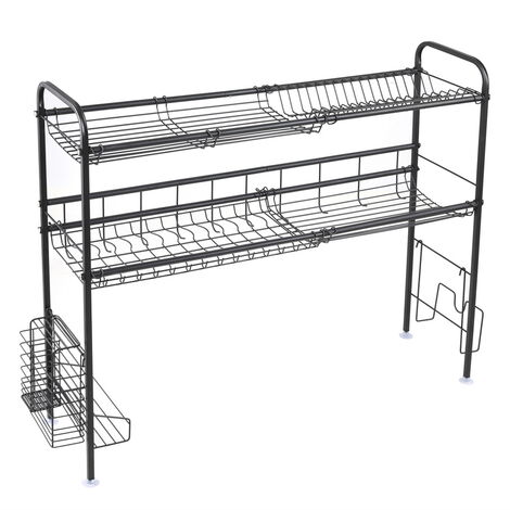 Stainless Steel Double Layer, Inner Length 90cm Kitchen Bowl Rack Shelf Black