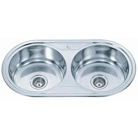 Stainless Steel Double Round Bowl Inset Kitchen Sink And Full Waste Kit (P01)