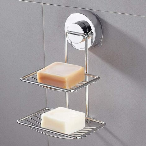 """main image of """"Stainless Steel Double Suction Soap Dish for Bathroom and Shower"""""""