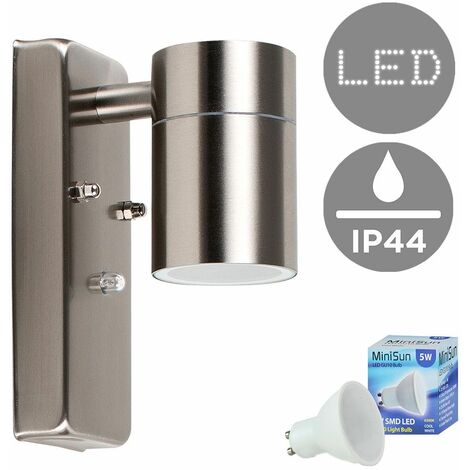 Stainless Steel Dusk To Dawn Sensor Outdoor Garden Wall Down Light IP44 Rated - 5W LED GU10 Bulb - Warm White - Silver