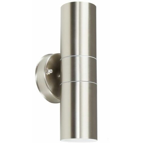Stainless Steel External Up/Down IP44 Rated Outdoor Security Wall Light + GU10 LED Bulbs - Stainless Steel - Silver