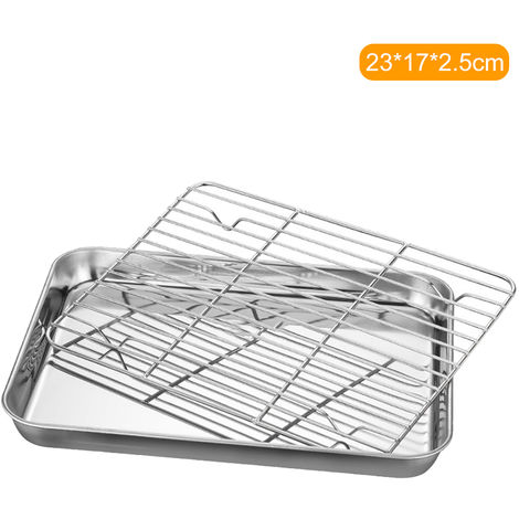 Stainless Steel Flat Bottom Baking Tray with Mesh Set Square Barbecue Plate