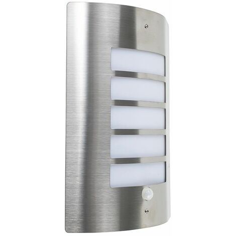 Stainless Steel & Frosted Lens Ip44 Pir Motion Sensor Outdoor Wall Light + 6W LED Es E27 Smd Gls Warm White Bulb - Silver