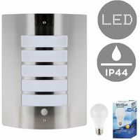 Stainless Steel & Frosted Lens IP44 PIR Motion Sensor Outdoor Wall Security Light 10w LED GLS Bulb - 3000K Warm White