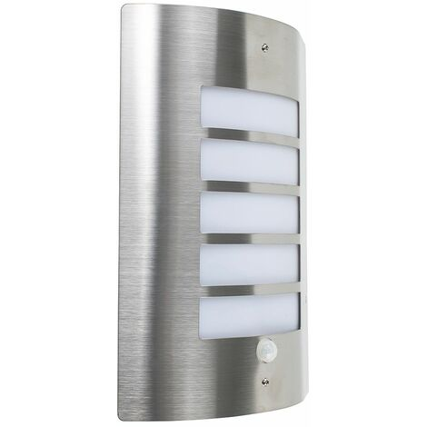 Stainless Steel & Frosted Lens IP44 PIR Motion Sensor Outdoor Wall Security Light - No bulb