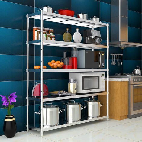 Stainless Steel Garage Kitchen Storage Shelf 4/5 Tier Commercial Shelving Rack