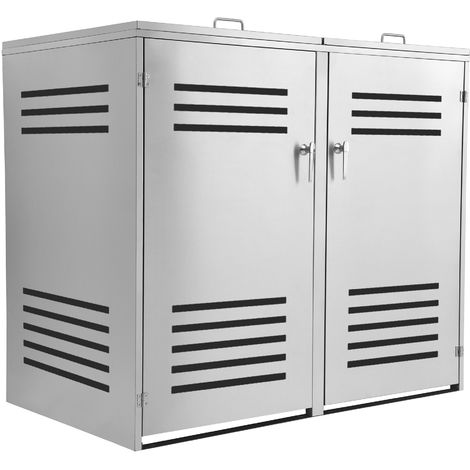 """Stainless steel garbage can box """"Lines"""" with hinged lid for 2 cans"""
