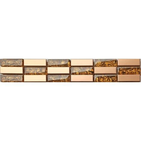 Stainless Steel Gold Mix Glass Mosaic Wall Tile Strips Border Bathroom MB0104