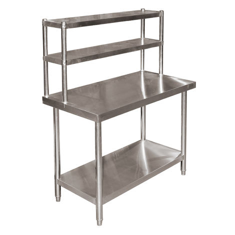 Stainless Steel Height Adjustable Work Table with 2 Layer Top Shelf 120x60x85cm