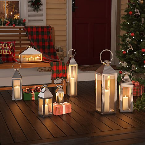 """main image of """"Stainless Steel Hurricane Lantern Candle Holder Candlestick with Handle"""""""