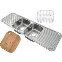 Stainless Steel Inset Kitchen Sink 2.0 Bowl With Double Drainer & Waste Kit. Polished Finish. Bamboo chopping board and wire basket insert included with this sink (F01 + cb + wb)
