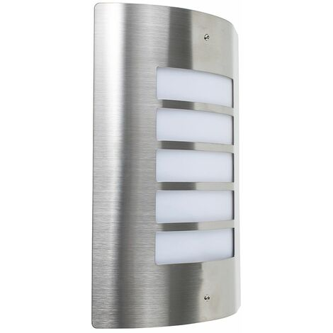 Stainless Steel IP44 Rated Outdoor Wall Light 15W LED GLS Bulb - Cool White LED - Silver