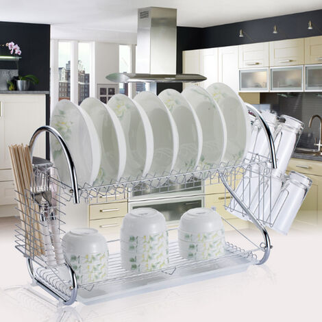 Stainless Steel Kitchen Drip Tray Bowl Draining Holder 2 Tier Dish Drainer Rack